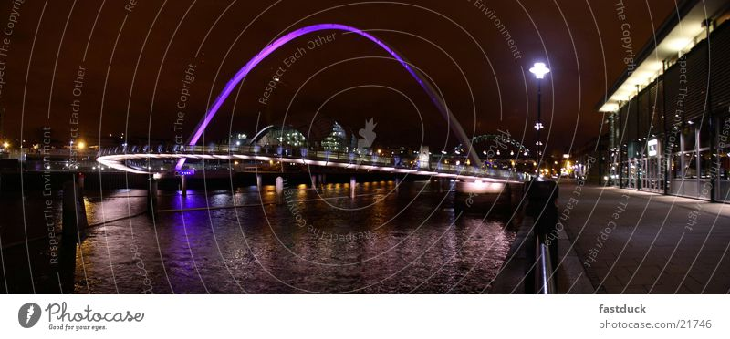 Eye song bridge Newcastle (panorama) England Great Britain Night shot Reflection Panorama (View) Bridge Baltic Millennium Bridge Water Large Panorama (Format)