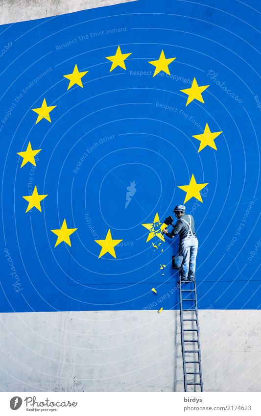 EU withdrawal / relaunch Construction site Masculine 1 Human being Work of art Wall (barrier) Wall (building) Ladder Sign Graffiti European flag