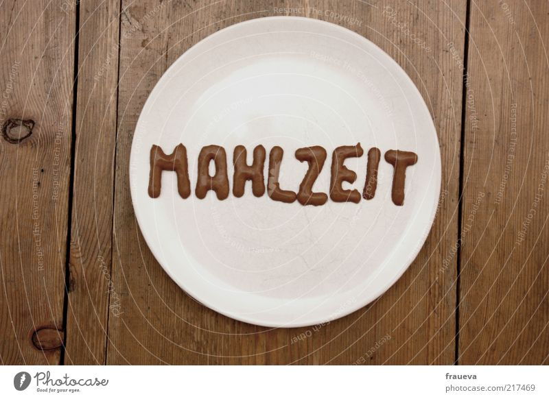 White Nutrition Brown Food Letters (alphabet) Exceptional Candy Symbols and metaphors Plate Table Meal Lunch Wooden table Capital letter Food photograph