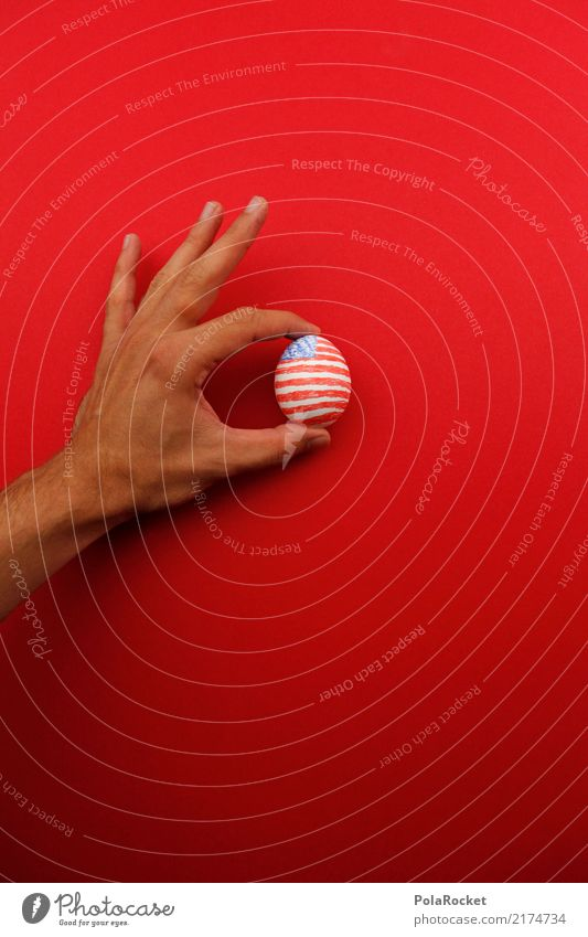 #A# US holding company Art Esthetic Egg USA American Flag US Army US-Open Red Blue Fingers To hold on Painted Colour photo Multicoloured Exterior shot