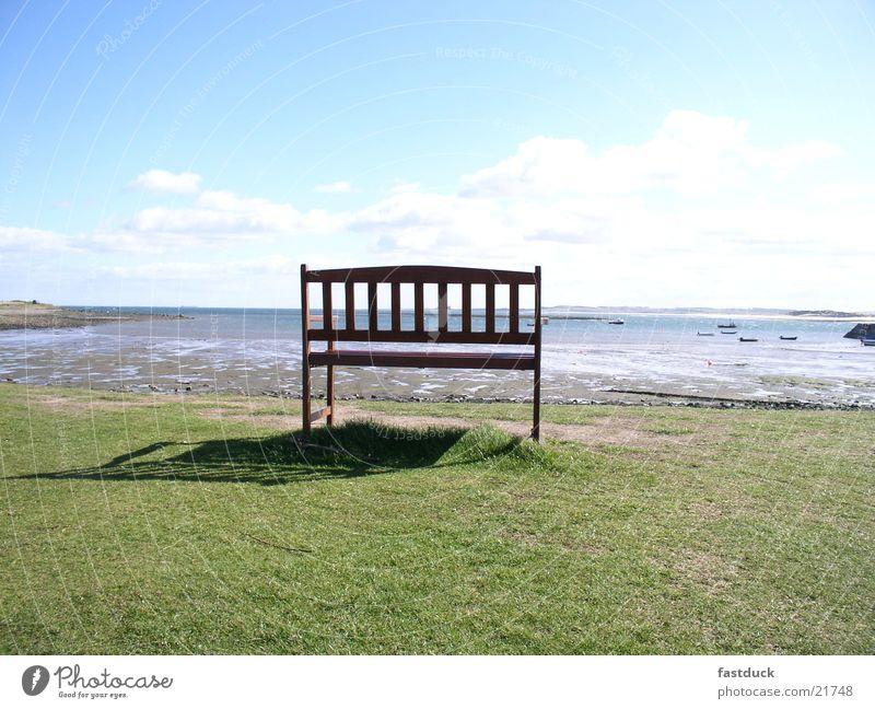 Water Ocean Green Blue Beach Coast Lawn Bench Scotland Great Britain