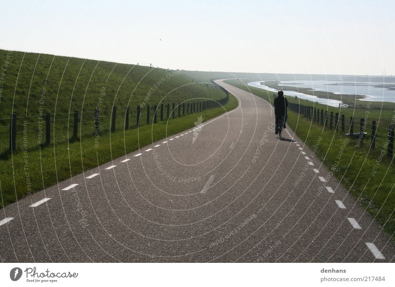 so far so good Cycling tour Sun 1 Human being Nature Landscape Sky Grass Field Lake Dike Street Country road Bicycle Fence Line Movement Driving