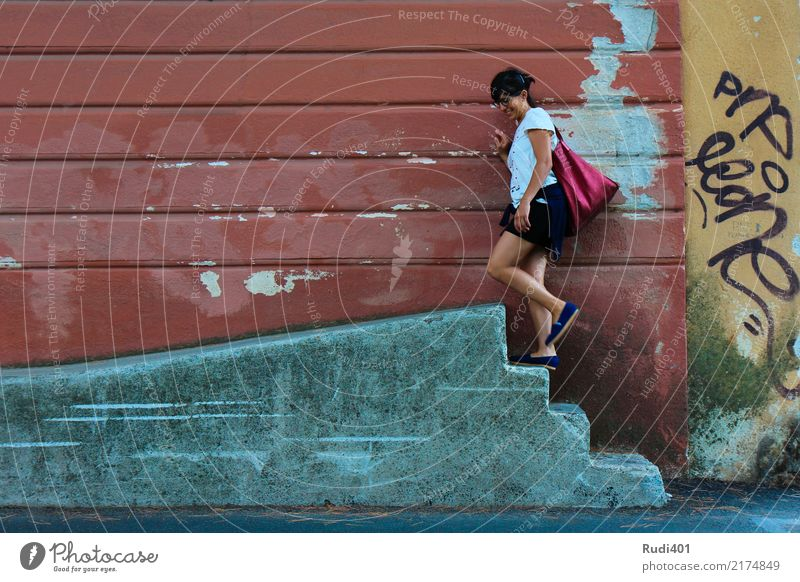 Up Human being Woman Adults Stairs Accessory Bag Going Red Curiosity Whimsical Town Irritation Sequence up Futile Street art Multicoloured Old Wall (building)