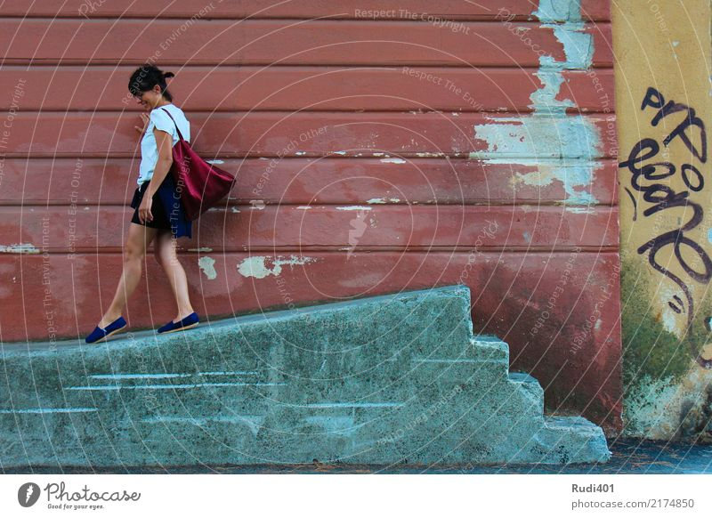 Human being Woman Old Town Red Adults Wall (building) Going Stairs Dance Curiosity Irritation Whimsical Downward Street art Bag