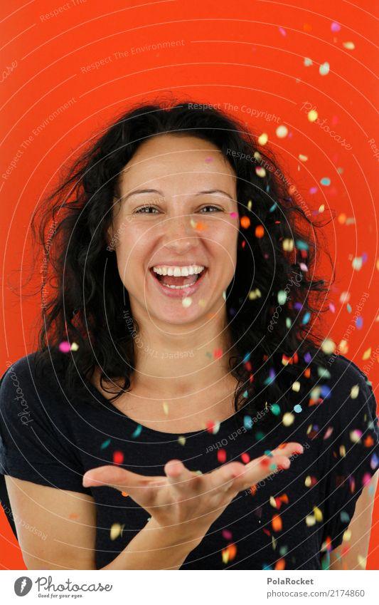 #A# Confetti Orange Feminine 1 Human being Esthetic Woman Joy Comical Funster The fun-loving society Bonfire Joybringer Surprise Colour photo Multicoloured