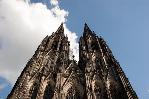 Cologne Cathedral Sky Clouds Beautiful weather North Rhine-Westphalia Germany Europe Skyline Church Manmade structures Building Architecture Tourist Attraction