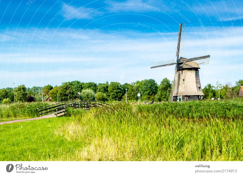 Traditional Dutch windmill Vacation & Travel Tourism Landscape Park Building Architecture Green Alkmaar Europe Netherlands colorful field Mill Windmill dutch