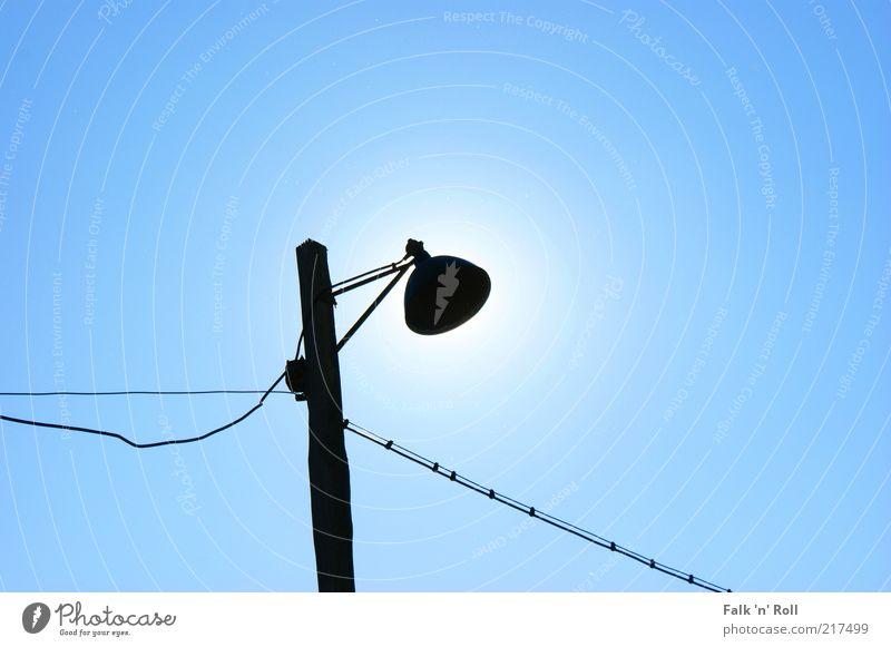 Sky Blue Old Sun Summer Black Cable Beautiful weather Simple Street lighting Lamp post Light Solar eclipse