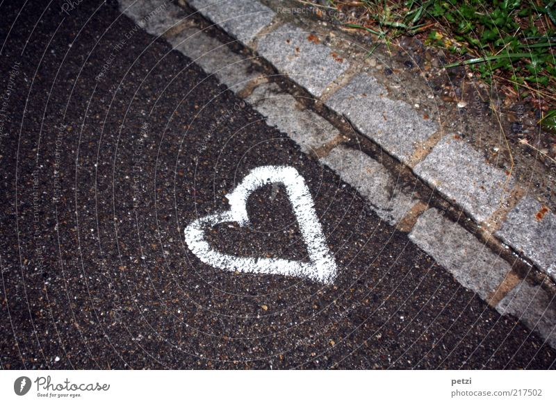 Lost your heart!? Work of art Street Stone Sign Green Black White Love Optimism Colour photo Exterior shot Detail Deserted Copy Space top Copy Space bottom Day