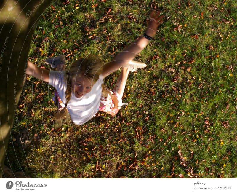yuch Girl Infancy Nature Air Autumn Beautiful weather Leaf Meadow Blonde Long-haired Movement Laughter Playing Jump Romp Brash Free Happiness Crazy Joy
