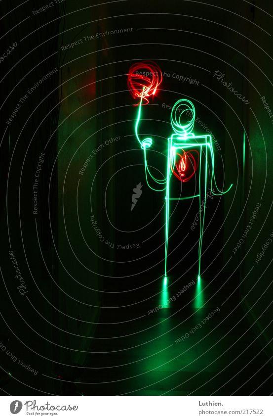 Human being Green Red Joy Black Bright Heart Art Balloon Kitsch Warm-heartedness To hold on Illuminate Creativity Long exposure Night