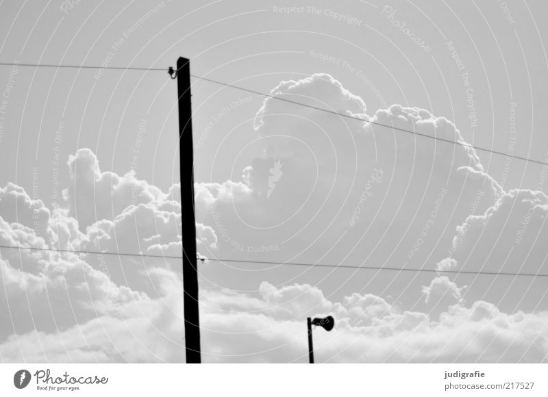 Nature Sky Clouds Environment Electricity Technology Cable Threat Climate Loudspeaker Information Technology Electricity pylon Stagnating Telegraph pole Black & white photo Apocalyptic sentiment