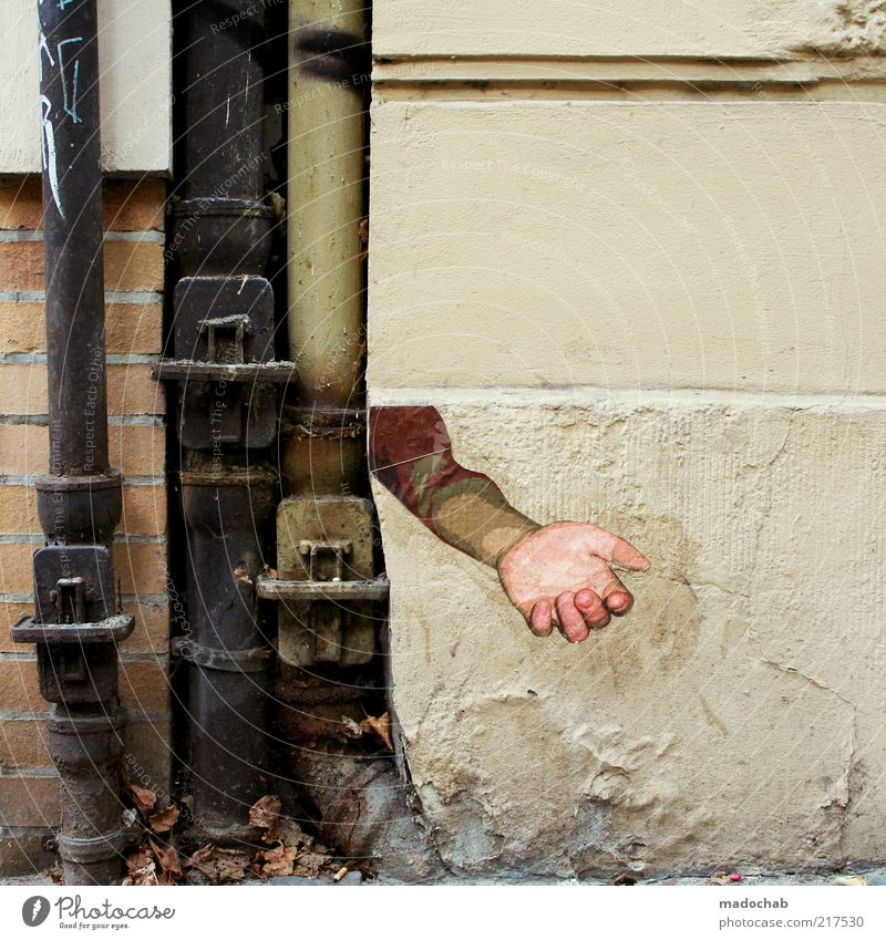 Hand Wall (building) Style Wall (barrier) Graffiti Art Arm Masculine Poverty Design Lifestyle Decoration Human being Sign Wallpaper Trashy
