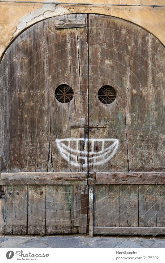 Old House (Residential Structure) Face Wall (building) Graffiti Funny Wood Building Wall (barrier) Brown Stairs Door Smiling Mouth Historic Italy