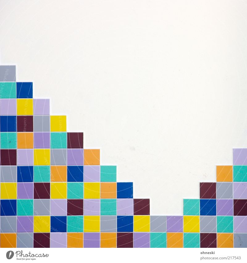 Wall (building) Wall (barrier) Building Design Facade Arrangement Tile Square Manmade structures Multicoloured Seam Mosaic