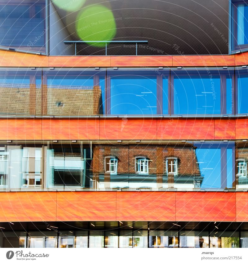 reflective Lifestyle Living or residing Town House (Residential Structure) Bank building Building Facade Window Hip & trendy Beautiful Crazy Multicoloured