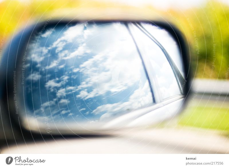 Sky White Green Blue Summer Clouds Environment Car Transport Climate Car Window Mirror Highway Beautiful weather Motoring Passenger traffic