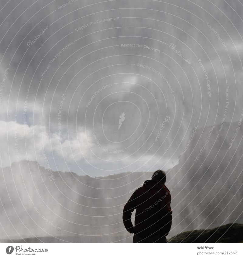 Human being Sky Nature Water Loneliness Landscape Mountain Sadness Gray Rock Fear Fog Drops of water Esthetic Wet Threat