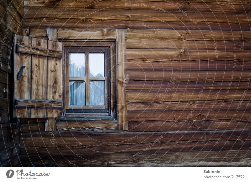 Window with view Summer Beautiful weather Sexten Dolomites Peak sixths Hut Wood Glass Blue Brown Alpine hut Alpine pasture Window pane Shutter Vantage point