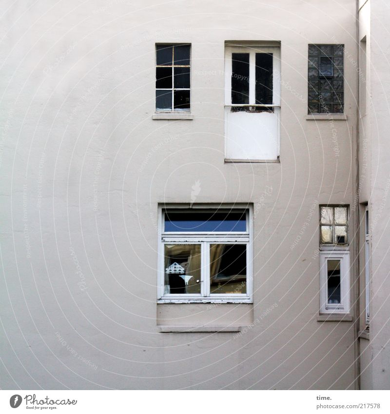 House (Residential Structure) Wall (building) Window Wall (barrier) Bright Lighting Flat (apartment) Glass Facade Closed Observe Window pane Plaster Backyard