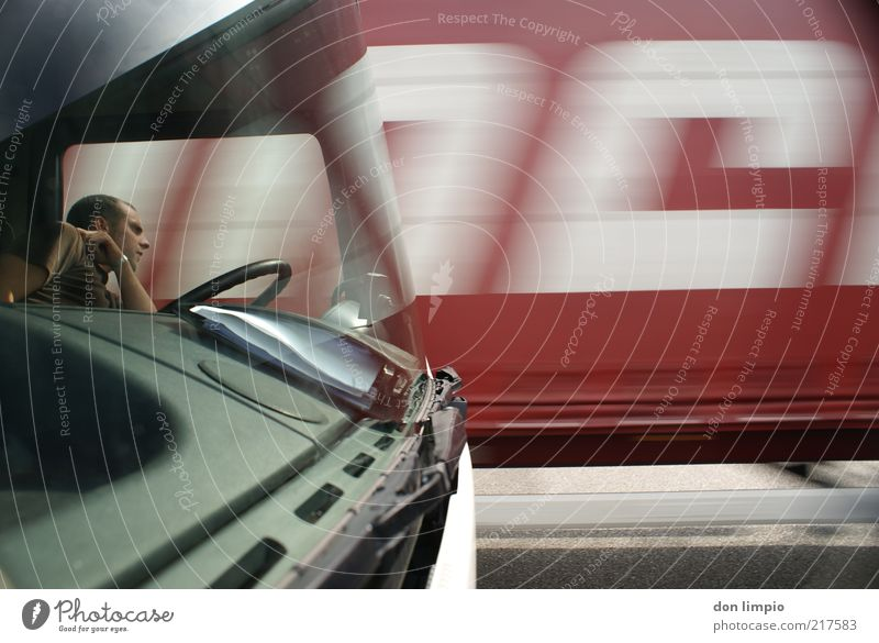 Human being Man Red Street Wait Adults Time Transport Perspective Logistics Break Characters Observe Truck Stress Dynamics