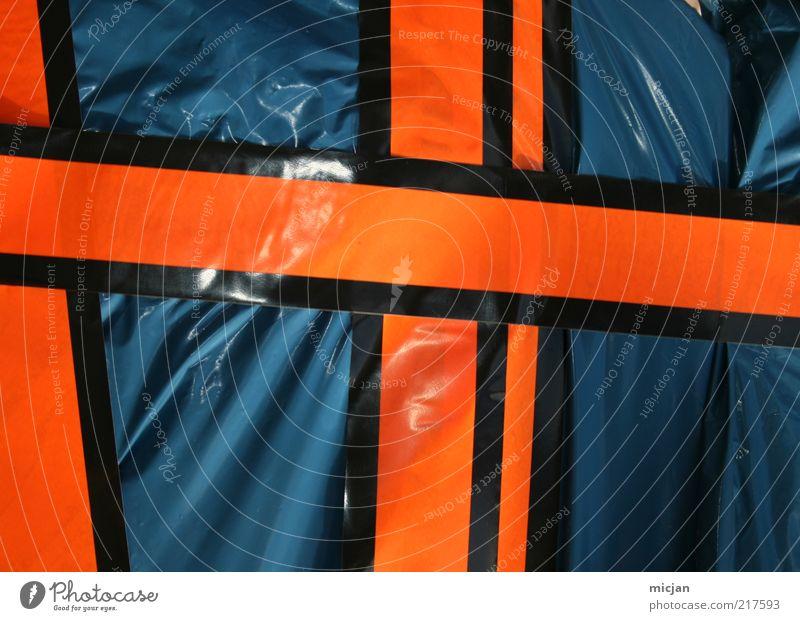 Blue Black Line Orange Glittering Design Arrangement Trash Crucifix Plastic Signage Barrier Warning label Connect Graphic Detail