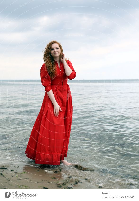 nina Feminine Woman Adults 1 Human being Water Sky Clouds Coast Baltic Sea Dress Barefoot Red-haired Long-haired Curl Observe Relaxation Smiling Looking Stand
