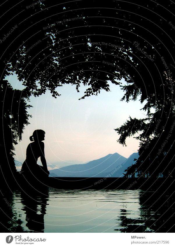 Lake Maggiore III Landscape Plant Water Romance Beautiful Silhouette Woman Mountain Tree Vantage point Alps Lago Maggiore Italy Heaven Relaxation Restorative