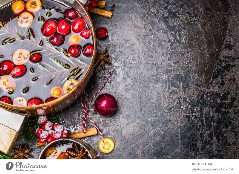 Close-up view of mulled wine pot Food Fruit Herbs and spices Banquet Beverage Hot drink Mulled wine Pot Cup Style Design Winter Living or residing