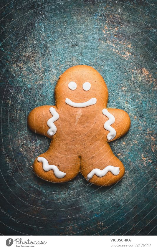 Christmas & Advent Winter Style Feasts & Celebrations Design Nutrition Decoration Candy Baked goods Grinning Dough Cookie Gingerbread Gingerbread man