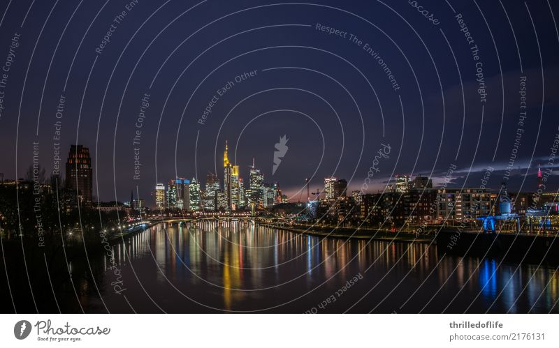 Frankfurt, skyline in the evening River bank Town Downtown Skyline House (Residential Structure) High-rise Bank building Bridge Architecture Tourist Attraction