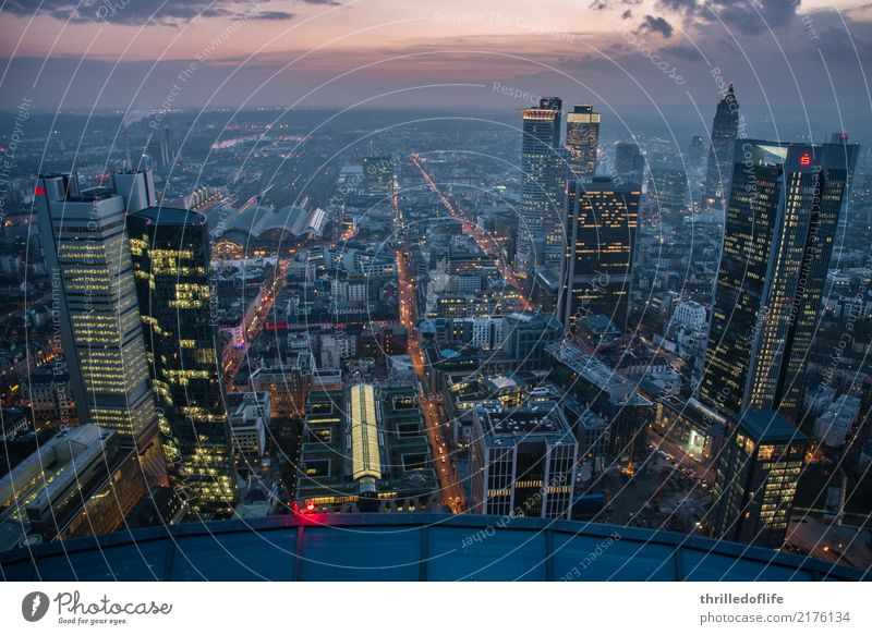 Frankfurt, skyline in the evening Town Downtown Skyline Populated High-rise Bank building Train station Manmade structures Building Architecture Transport