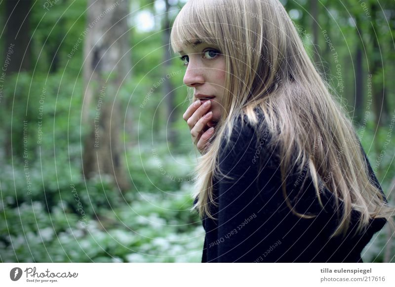 Woman Human being Nature Youth (Young adults) Hand Green Beautiful Loneliness Forest Cold Dark Feminine Adults Fear Blonde