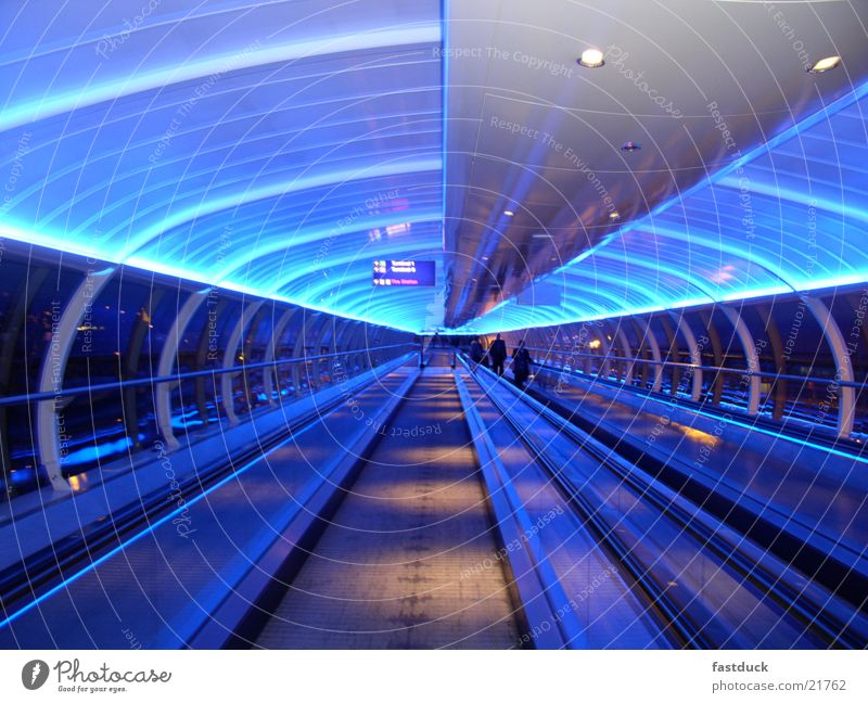 Lost in Manchester England Neon blue Great Britain Tunnel Aviation Airport Blue Light Movement lights