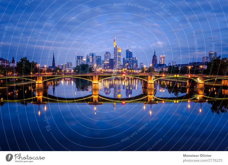 skyline frankfurt am main Frankfurt Town Downtown Skyline Bank building Bridge Architecture Clouds Blue Reflection Light (Natural Phenomenon) Sea of light