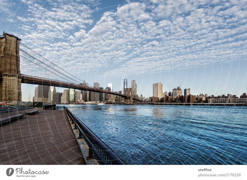 Bridge day: Brooklyn Town New York City downtown manhattan Manhattan Brooklyn Bridge East River Beautiful weather Clouds Multicoloured Exterior shot Wide angle