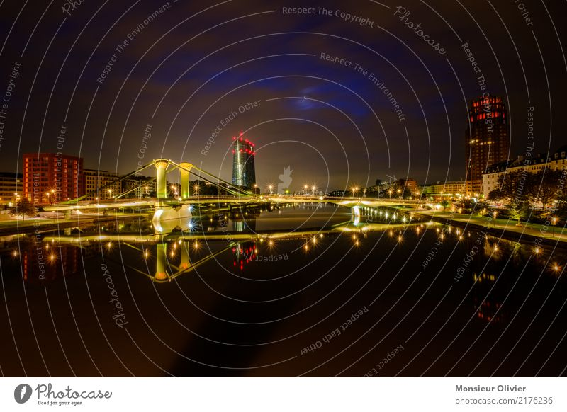 dawn cityscape Frankfurt Downtown High-rise Bank building Town City Lure of the big city Skyline Bridge Reflection Clouds Moon Colour photo Exterior shot
