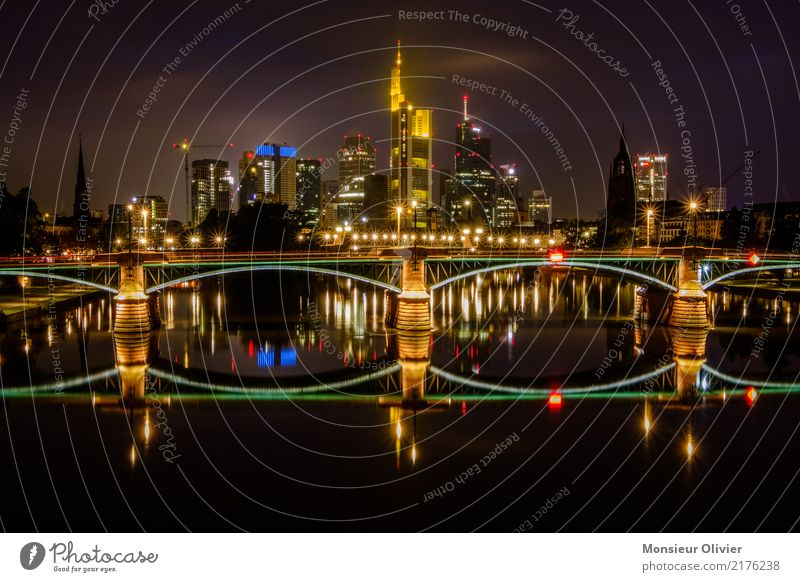 Frankfurt am Main - Skyline Downtown High-rise Bank building Bridge Town Night Light (Natural Phenomenon) Sea of light City Lure of the big city Colour photo