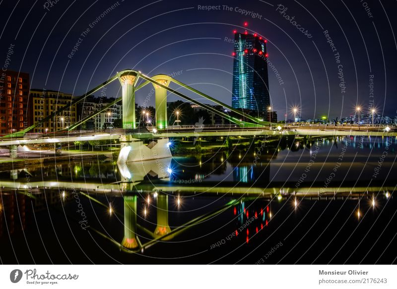 Frankfurt am Main, European Central Bank ECB Skyline High-rise Town City River Hesse Germany Bank building Banking district Night Morning Dawn Blue Architecture