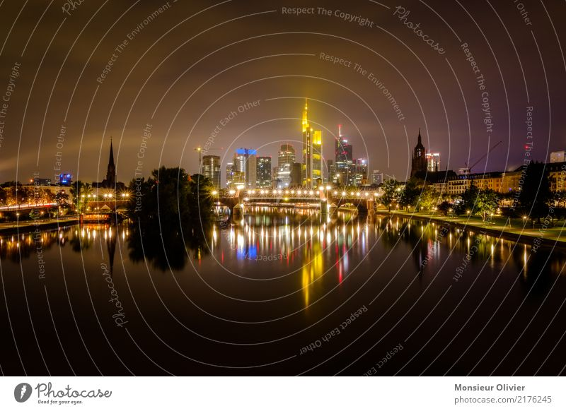 Mainhattan Skyline Frankfurt am Main High-rise Town City River Hesse Germany Bank building Banking district Night Morning Dawn Blue Architecture