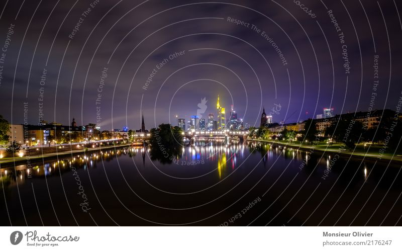 Mainhattan Skyline, Frankfurt am Main High-rise Town City River Hesse Germany Bank building Banking district Night Morning Dawn Blue Architecture