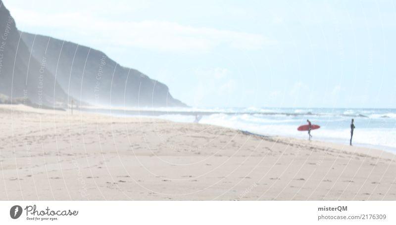 Küstenleben. Nature Climate Surf Surfer Portugal Beach Ocean Colour photo Exterior shot Copy Space left Copy Space right Copy Space top Neutral Background Day