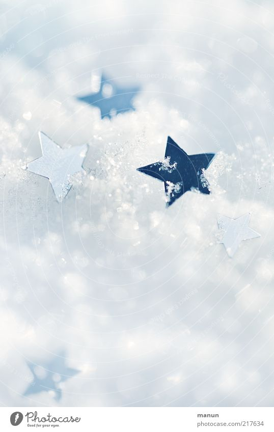 Christmas & Advent White Winter Snow Ice Moody Bright Feasts & Celebrations Glittering Background picture Star (Symbol) Frost Kitsch Sign Glitter