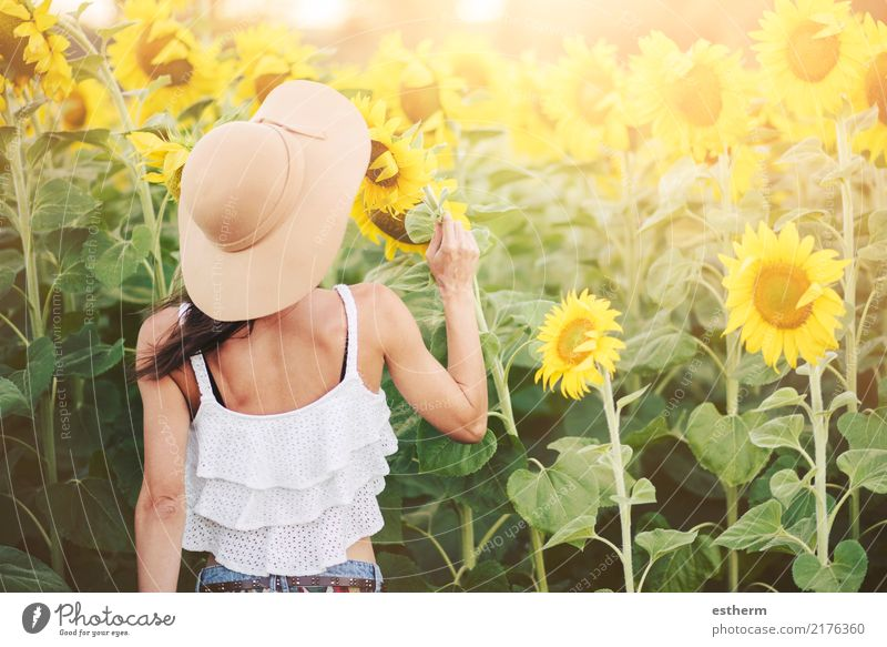 Girl in field of sunflowers Human being Woman Nature Vacation & Travel Youth (Young adults) Plant Young woman Summer Beautiful Joy Adults Lifestyle Spring
