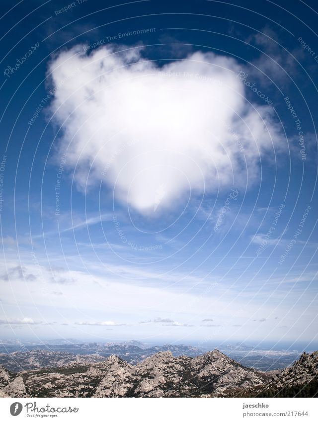 Sky Blue White Landscape Clouds Far-off places Mountain Environment Emotions Exceptional Horizon Heart Climate Joie de vivre (Vitality) Beautiful weather Romance