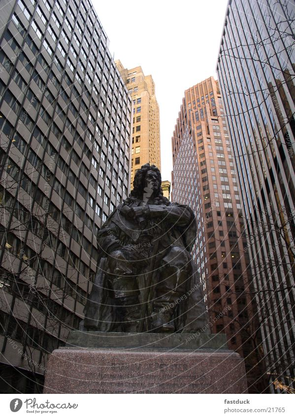 old meets new New York City Abraham DePeyster Architecture Manhattan Statue Sculpture Monument Central perspective High-rise facade