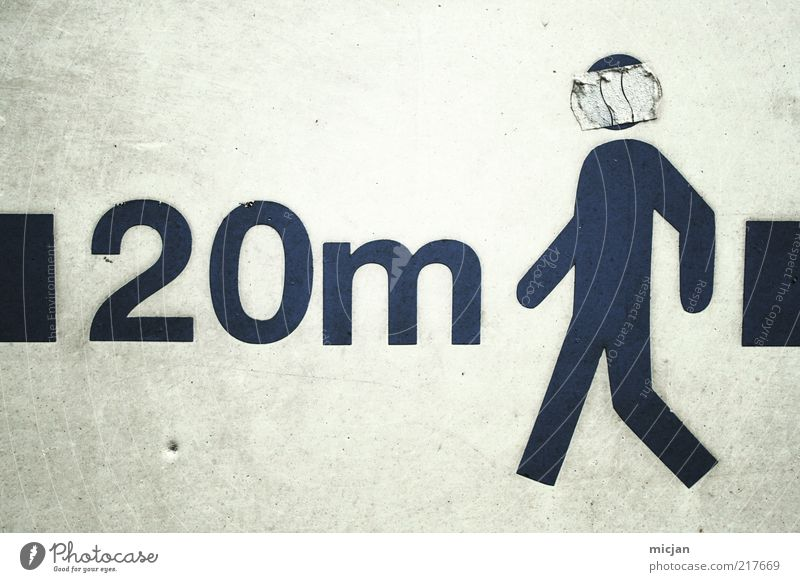 20 meters of Man Cowboy Funk. Masculine 1 Human being Sign Simple Mobility Meter Traffic infrastructure Contrast Signs and labeling Clue Censorship Mysterious