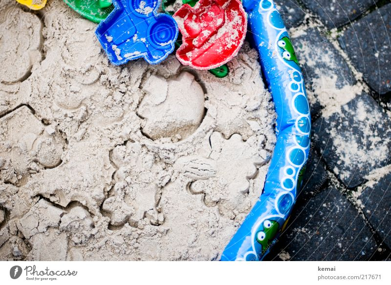 Urban beach holiday Leisure and hobbies Children's game Sandpit Sand toys Toys Paddling pool Summer Beach Blue Red Joy Infancy Imprint Colour photo