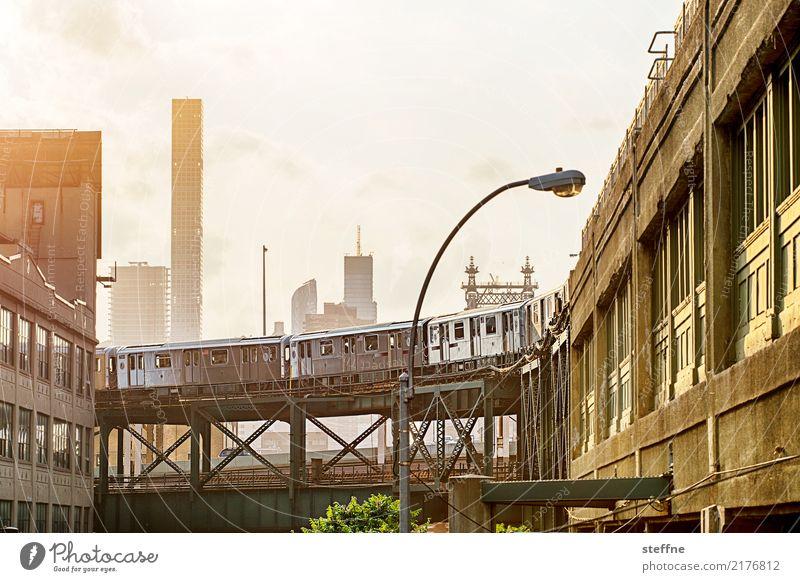 Summer City life High-rise USA Railroad Skyline Underground Manhattan New York City Mono rail Queensborough Bridge