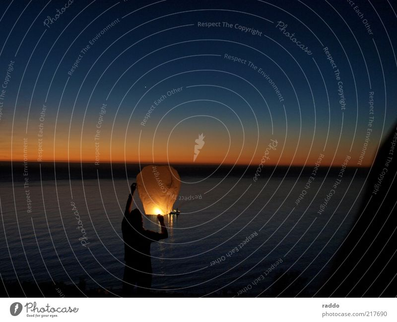 Send a Light Leisure and hobbies Vacation & Travel Far-off places Freedom Ocean Masculine Man Adults 1 Human being Cloudless sky Stars Horizon Sunrise Sunset